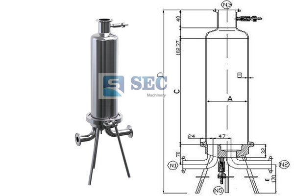 Stainless Steel Single Cartridge Filter Housing