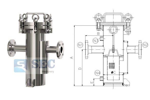 Stainless Steel Basket Filter Housing